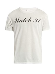 Saint Laurent Watch It Print Cotton Jersey T Shirt White