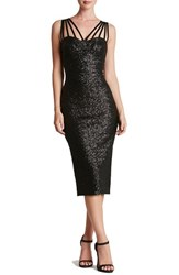 Dress The Population Women's 'Alex' Strappy Sequin Midi Matte Black
