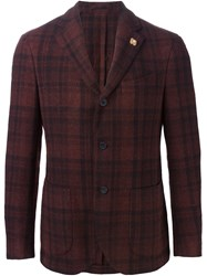 Lardini Plaid Blazer Red