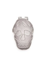 Alexander Mcqueen Engraved Skull Enamel Money Clip Metallic