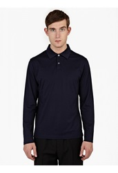 Sunspel Navy Long Sleeved Cotton Polo Shirt