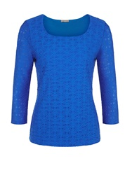 Planet Blue Textured Top Bright Blue