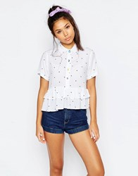Lazy Oaf Short Sleeved Shirt With Frill Hem In Polka Dot Print White