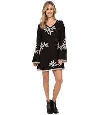 Scully Eda Embroidered And Lace Trim Dress Black Women's Dress