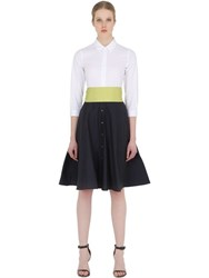 Sara Roka Cotton Shirt Dress With Taffeta Skirt