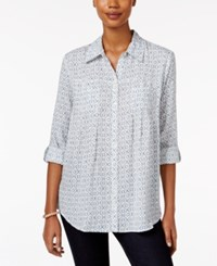 Styleandco. Style Co. Petite Mixed Print Shirt Only At Macy's Brilliant Teal