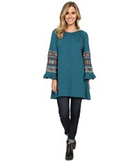 Scully Caily Embroidered Bell Sleeve Tunic Teal Women's Blouse Blue