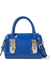 Opening Ceremony Lele Textured Patent Leather Tote Blue