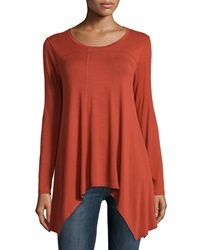 Neiman Marcus Sharkbite Hem Long Sleeve Swing Tee Orange Foliage