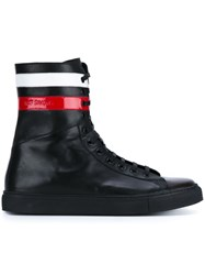 Raf Simons Stripe Detail Hi Top Sneakers Black