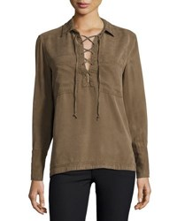 Velvet Heart Eden Long Sleeve Lace Up Top Green