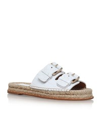 Paloma Barcelo Paloma Barcelo Rachelle Croc Embossed Leather Sandals Female White