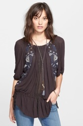 Free People New World Off The Shoulder Butterfly Tunic Black