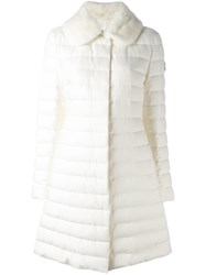 Moncler Gamme Rouge Faux Fur Collar Puffer Coat White