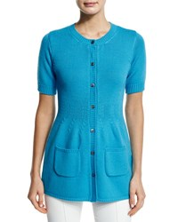 Agnona Short Sleeve Button Front Tunic Cardigan Turquoise