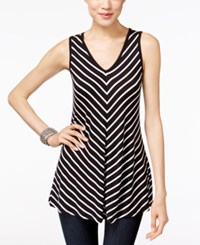 Inc International Concepts Striped V Neck Tank Top Only At Macy's Black White Stripe