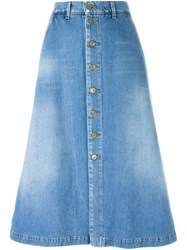 7 For All Mankind A Line Denim Skirt Blue