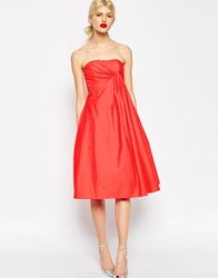 Asos Premium Extreme Fold Midi Prom Dress Hot Red