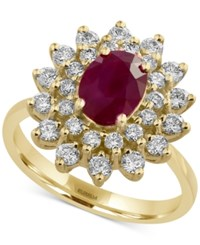 Effy Amore By Certified Ruby 1 3 8 Ct. T.W. And Diamond 3 4 Ct. T.W. Statement Ring In 14K Gold Yellow Gold