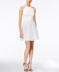 Guess Illusion Striped Fit And Flare Dress White