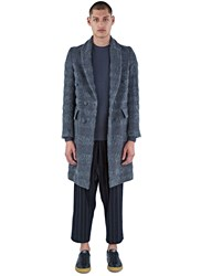 Mohsin Bev Double Breasted Striped Mohair Coat Grey