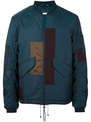 Oamc Patchwork Design Bomber Jacket Blue