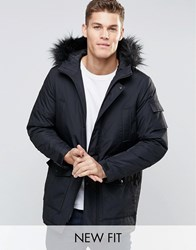 Asos Parka Jacket In Black With Faux Fur Trim Black