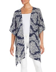 Design Lab Lord And Taylor Paisley Open Front Topper Navy
