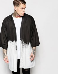 Religion Dripping Paint Print Jersey Kimono White Black