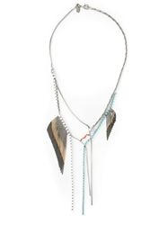 Iosselliani Beaded Fringe Necklace Metallic