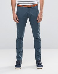 Selected Homme Slim Fit Chino With Stretch And Leather Belt Blue