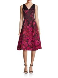 Rickie Freeman For Teri Jon Floral Fit And Flare Panel Dress Black Red