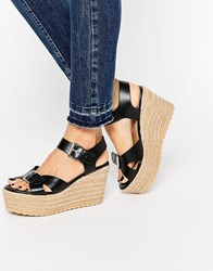 Asos Talking Point Wedge Sandals Black