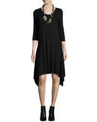 Eileen Fisher 3 4 Sleeve Jersey Dress W Arched Hem