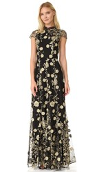 Alice Olivia Aaliyah Embroidered Gown Black Gold