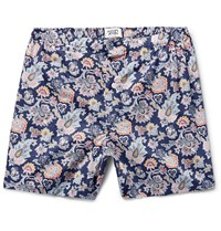 Sleepy Jones Jasper Short Length Printed Cotton Boxer Shorts Blue