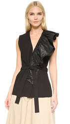 Tome Deep V Neck Vest With Ruffle Black