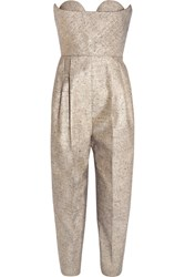 Delpozo Strapless Metallic Tweed Jumpsuit