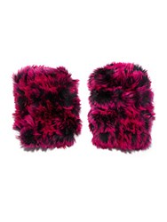 Jocelyn Two Tone Fur Fingerless Gloves Black Rose