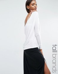 Noisy May Tall Cowl Back Long Sleeve Top White
