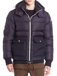 Moncler Quilted Virgin Wool Blend Jacket Navy