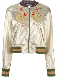 Aviu Embroidered Floral Bomber Jacket Metallic