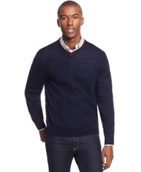 Club Room Merino Wool V Neck Long Sleeve Sweater Only At Macy's Navy Blue