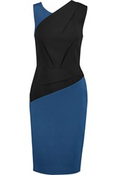 Roland Mouret Arley Two Tone Crepe And Stretch Ponte Dress Black