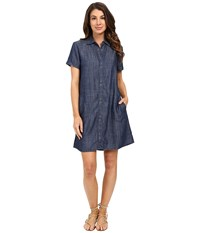 Lilla P Chambray Short Sleeve Shirtdress Chambray Women's Dress White