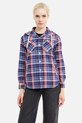 X Girl Plaid Hoodie Shirt Navy