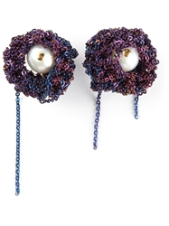 Arielle De Pinto Chained Pearl Earrings Pink And Purple