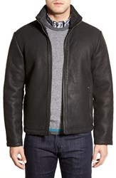 Cole Haan Men's Leather Jacket With Faux Shearling Lining