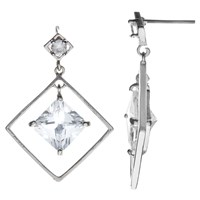 John Lewis Square Glass Drop Earrings Silver