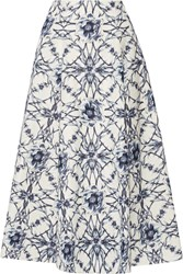 Marchesa Printed Cotton And Silk Blend Midi Skirt Blue